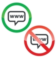 WWW message permission signs vector image vector image