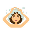 young woman washing her hair and taking shower vector image