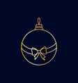 simple golden christmas tree ball with ribbon vector image