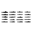 submarines black silhouettes set vector image