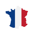 tricolor flag France on the map vector image