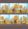 autumn period city park and trees fall set vector image vector image