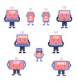 blocked computer devices cartoon characters set vector image