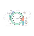 business man stand and pointing at huge clock vector image vector image