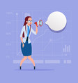 business woman hold megaphone loudspeaker digital vector image