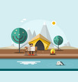 camping with man on bench in front tent vector image vector image