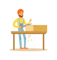carpenter man sawing wood in his workshop vector image vector image