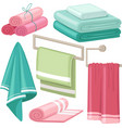 cartoon bath towel cloth towels hanging in vector image