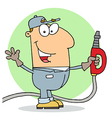 Caucasian Cartoon Gas Station Attendant Man vector image vector image