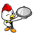 cock character holding a food pot isolated on vector image