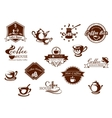 Coffee icons banners and logos in brown vector image vector image