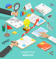 competitive analysis flat isometric concept vector image vector image