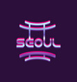 creative seoul city logo south korea landmark vector image