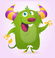 cute cartoon horned and fluffy monster smiling vector image vector image