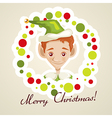 Cute elf christmas card vector image