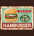 fast food hamburger rusty metal plate vector image vector image
