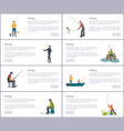 fishing men posters title set vector image vector image