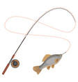 fishing rod with caught limbless animal vector image