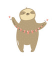 funny sloth holding garland hearts vector image vector image