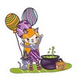 grated girl costumed with balloons and pot vector image