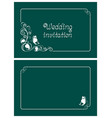 green wedding invitation and save the date cards vector image