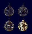 hand drawn gold christmas ball toy set vector image