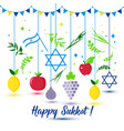 happy sukkot holiday jewish holiday sukkot vector image