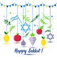 happy sukkot holiday jewish holiday sukkot vector image vector image