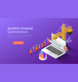 isometric web banner construction crane lifting vector image