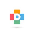 Letter D cross plus logo icon design template vector image vector image