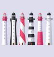 lighthouse light house beacon set vector image