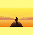 lonely girl silhouette on sunset sad alone dreamy vector image vector image