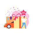 lottery winner happy man win car surprise vector image vector image