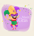 mardi gras jester in a mask vector image vector image