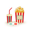 movie poster template popcorn soda takeaway 3d vector image vector image