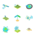 Navigation icons set cartoon style vector image vector image