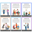 office teamwork and working tasks promo posters vector image