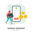 payment using a smartphone mobile payment online vector image vector image