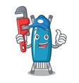 plumber iron board mascot cartoon vector image