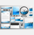 professional blue business stationery items set vector image
