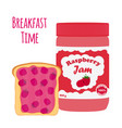 raspberry jam in glass jar toast with jelly vector image vector image