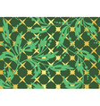 seamless dark green pattern with golden tracery vector image vector image