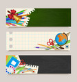 set of back to school banners with student items vector image vector image