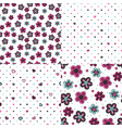 set of backgrounds with flowers and hearts vector image