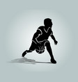 silhouette of basketball player vector image vector image