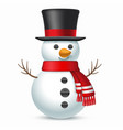 smiling snowman with top-hat and scarf vector image vector image
