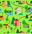 summer town or village seamless pattern vector image