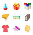 t-shirt design icons set cartoon style vector image