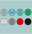 terrestrial globe different colour flat icon vector image