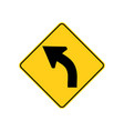 usa traffic road signs left curve ahead vector image vector image